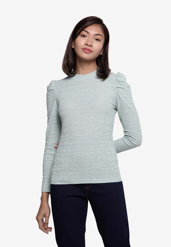 Mock Neck Long Sleeve Top - Green