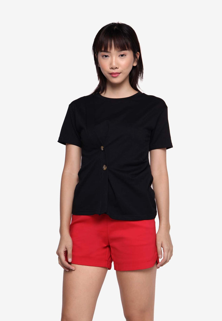 Button-On Knotted Casual Top - Black