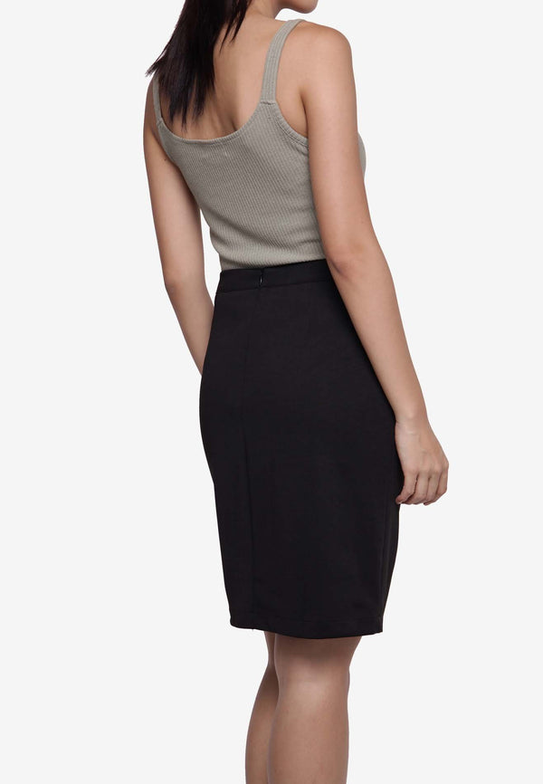 Button Down Pencil Skirt - Black