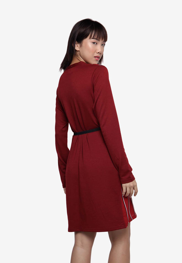 Long Sleeve Dress in Stripe - Red