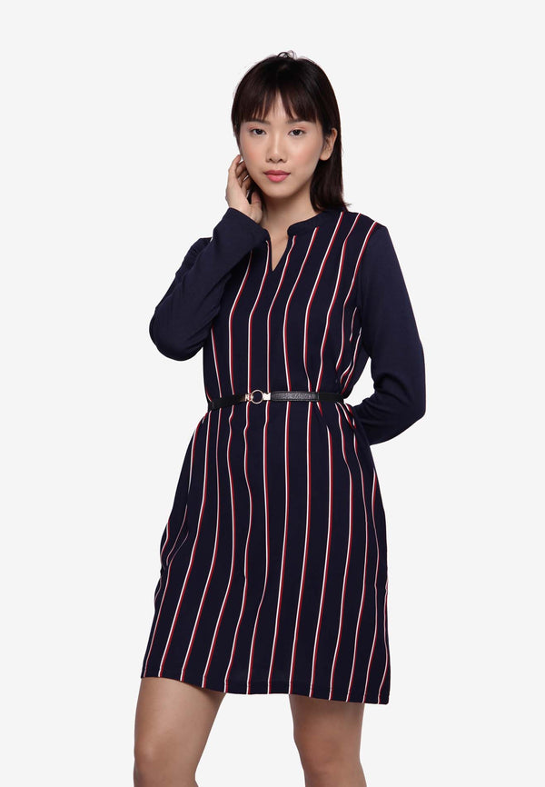 Long Sleeve Dress/Long Top in Stripe - Navy