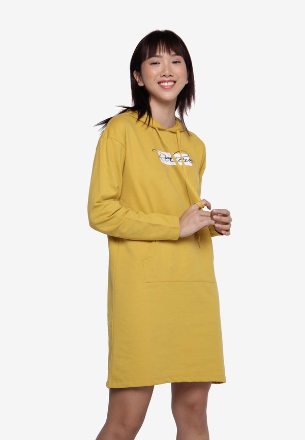 Basic Hooded Dress - Yellow