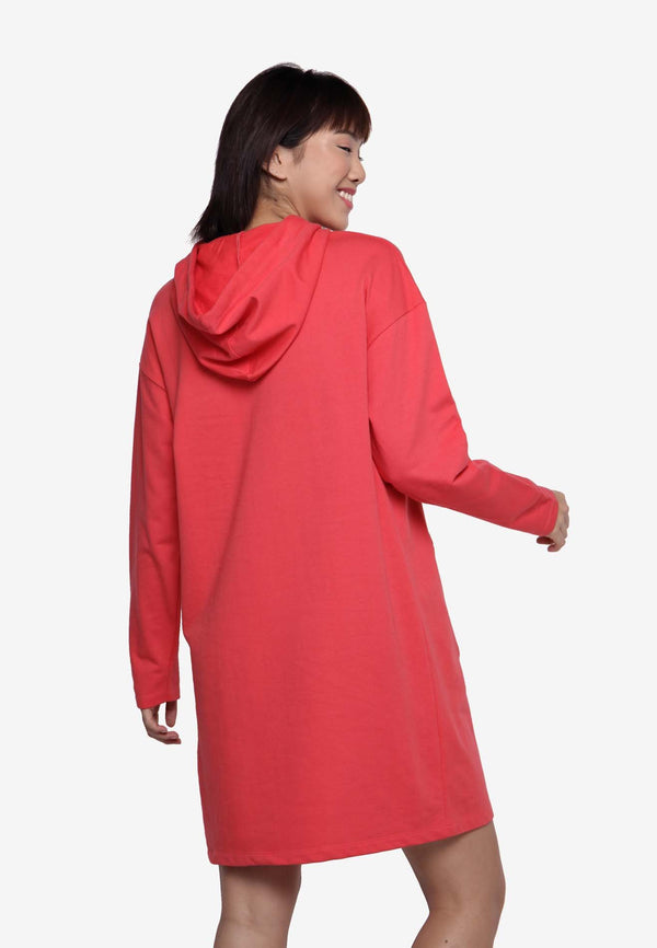 Basic Hooded Dress - Red