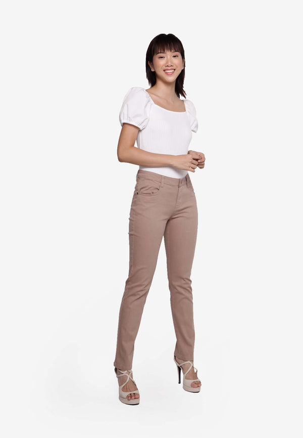#303 Regular Cut Long Pants - Khaki