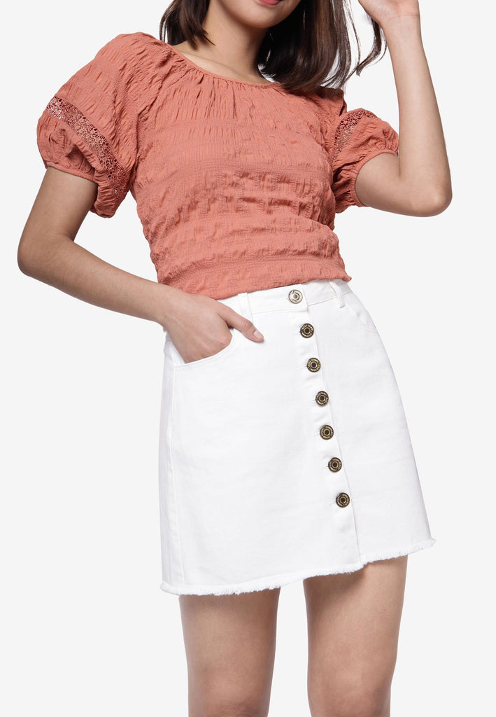 Button Down Denim Skirt - White