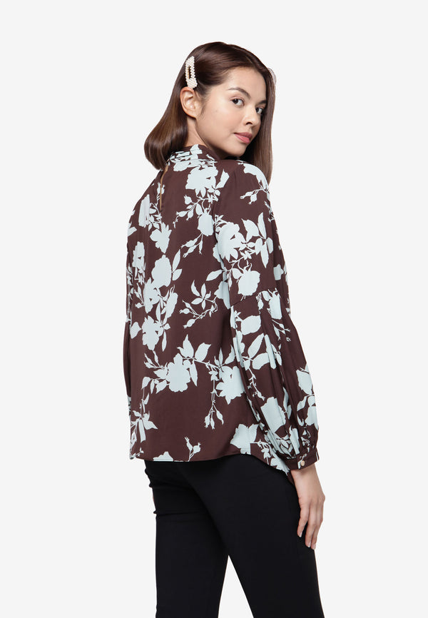 Floral Asymmetrical Long Sleeve Top