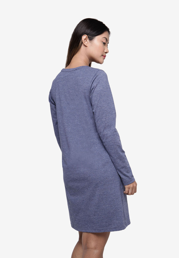 Long Sleeve in Long Top/Dress Checker Print - Blue