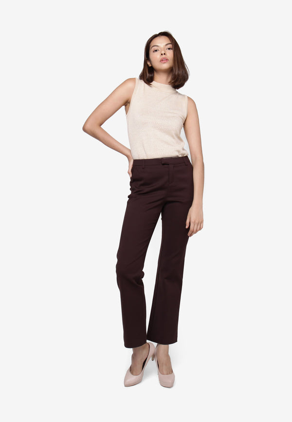 Straight Cigarette Trousers - Dark Brown