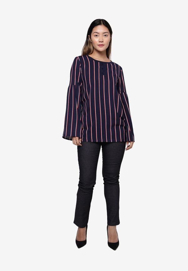 Long Sleeve Flare Top in Stripe - Navy