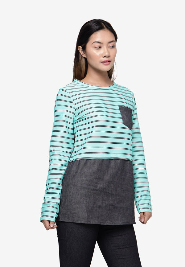 Long Sleeve Top in Stripe - Green