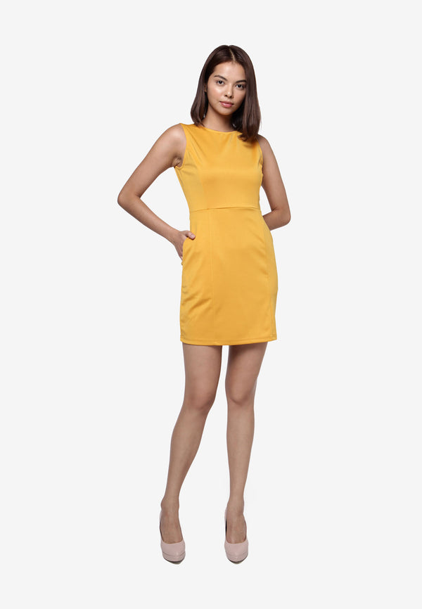 Basic Sleeveless Dress - Mustard