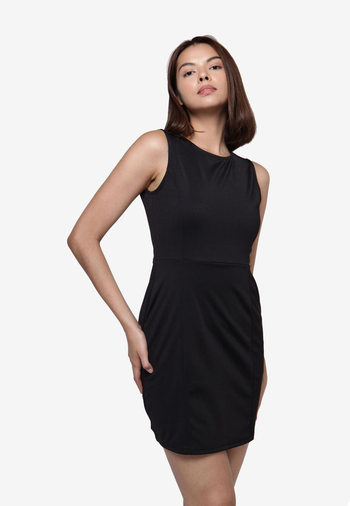 Basic Sleeveless Dress - BLACK