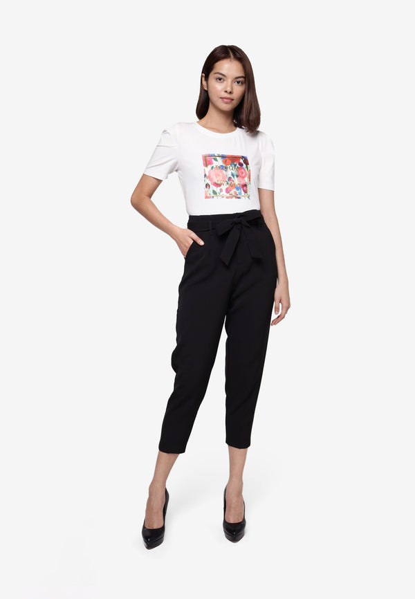 High Waisted Cropped Pant in Black