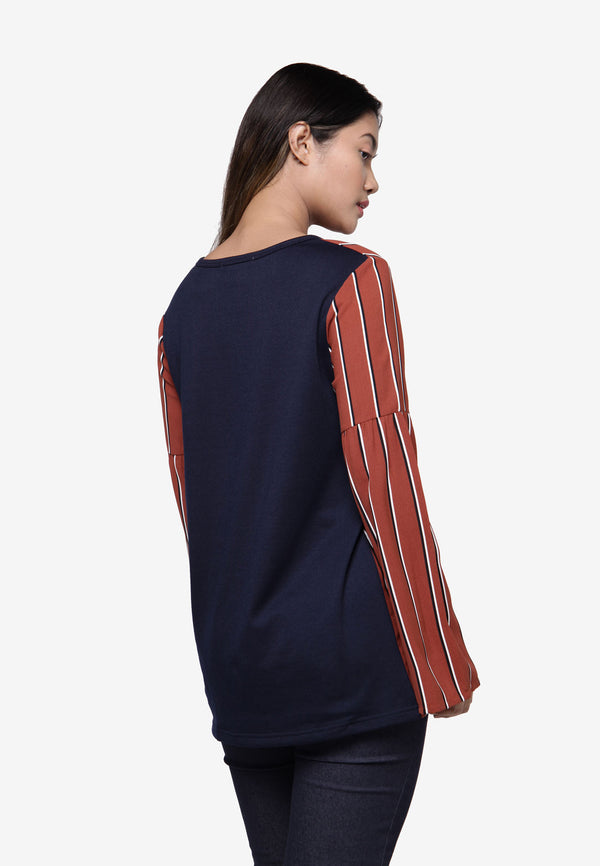 Long Sleeve Flare Top in Stripe - Brown