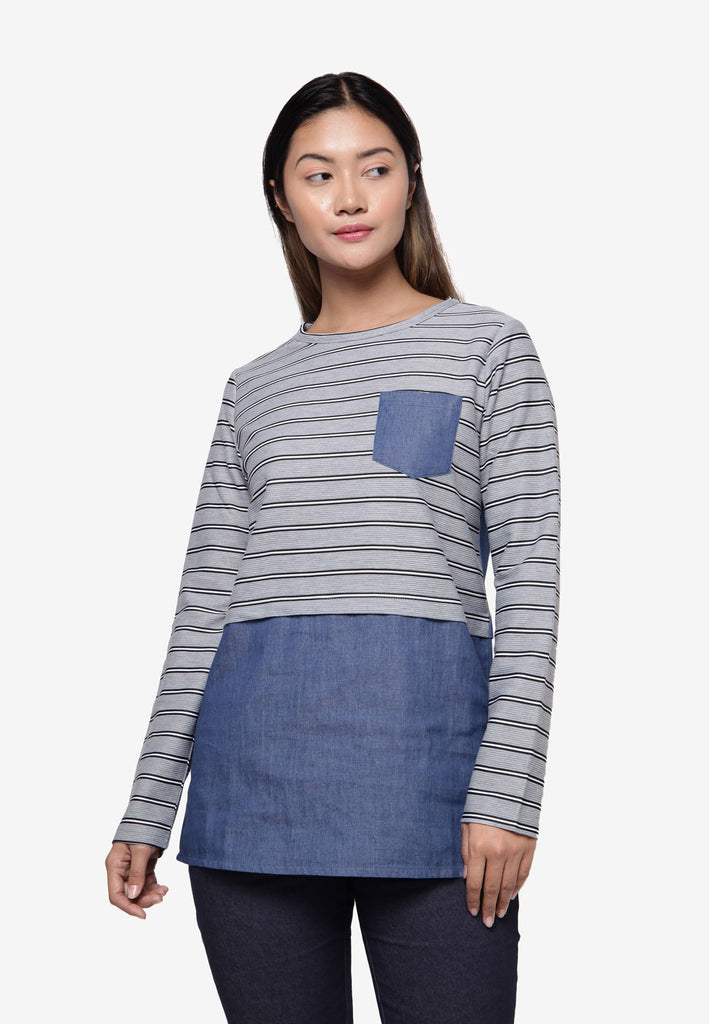 Long Sleeve Top in Stripe - Grey