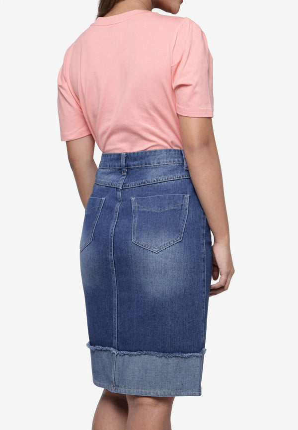 Two-Toned Denim Skirt
