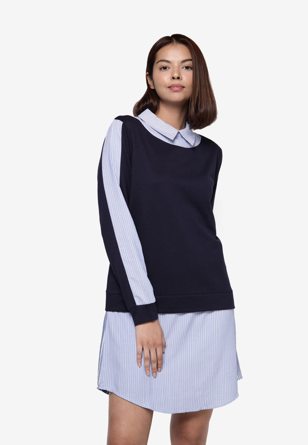 Long Sleeve Peter Pan Collar Shirt Dress/Long Top  - Navy