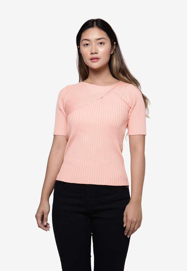 Half Sleeve Knit Top in Peach