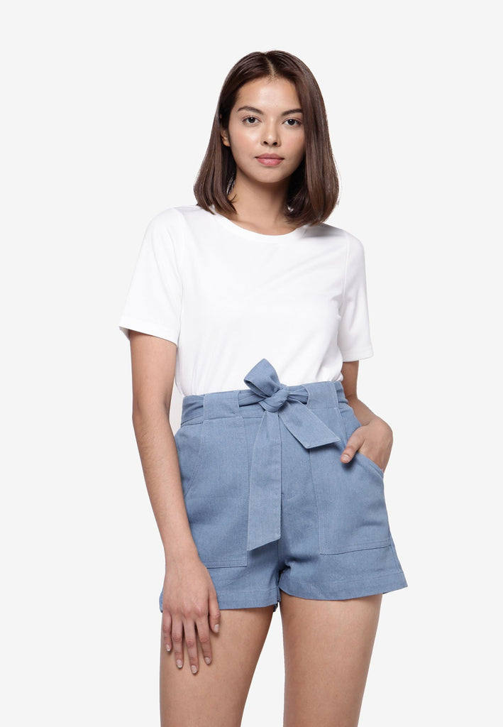 High Rise Denim Short - Light Blue