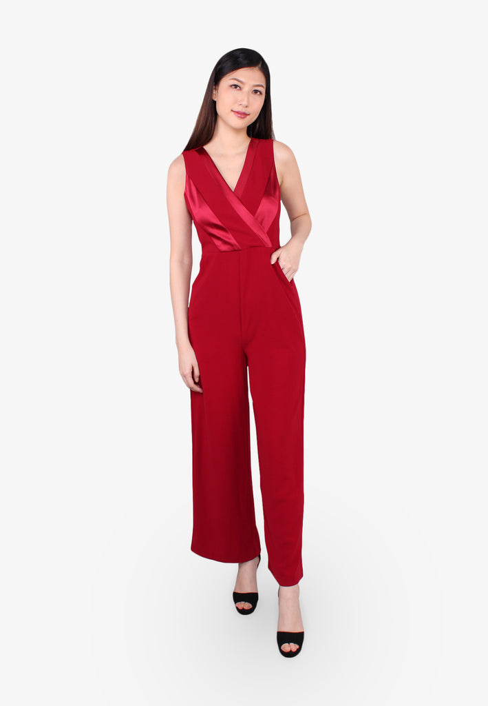 V Neck Overlap Jumpsuits