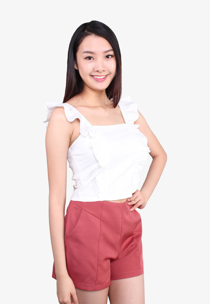 Square Neck Ruffle Sleeveless Top