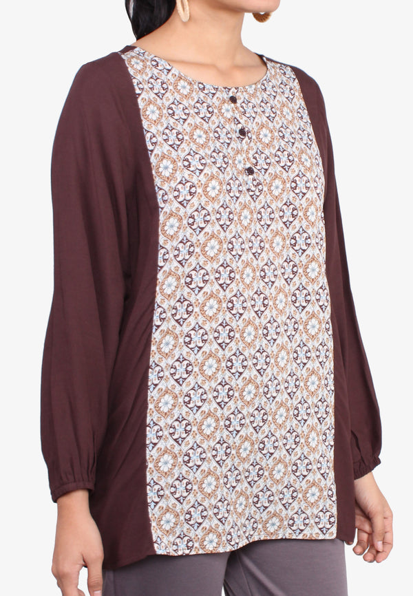 Floral Print Contrasting Colored Long Sleeve Top