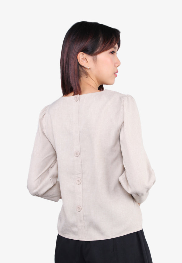Back Button Long Sleeve Blouse