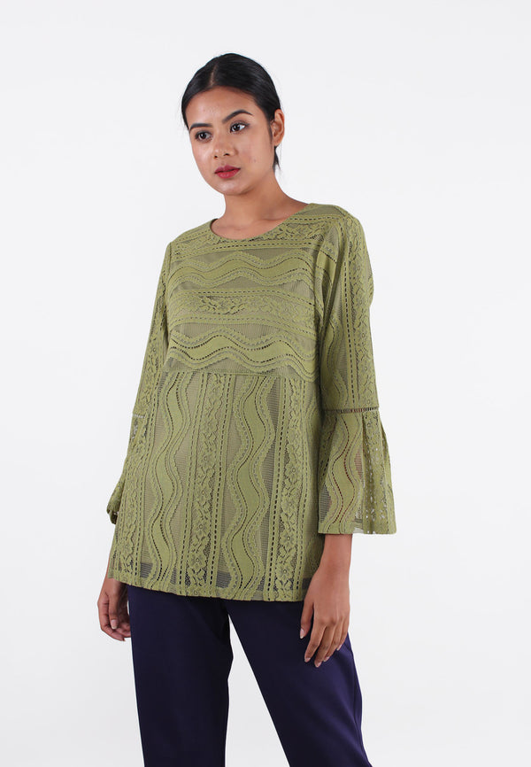 SOUTH CHINA SEA Round Neck Embroidery Blouse
