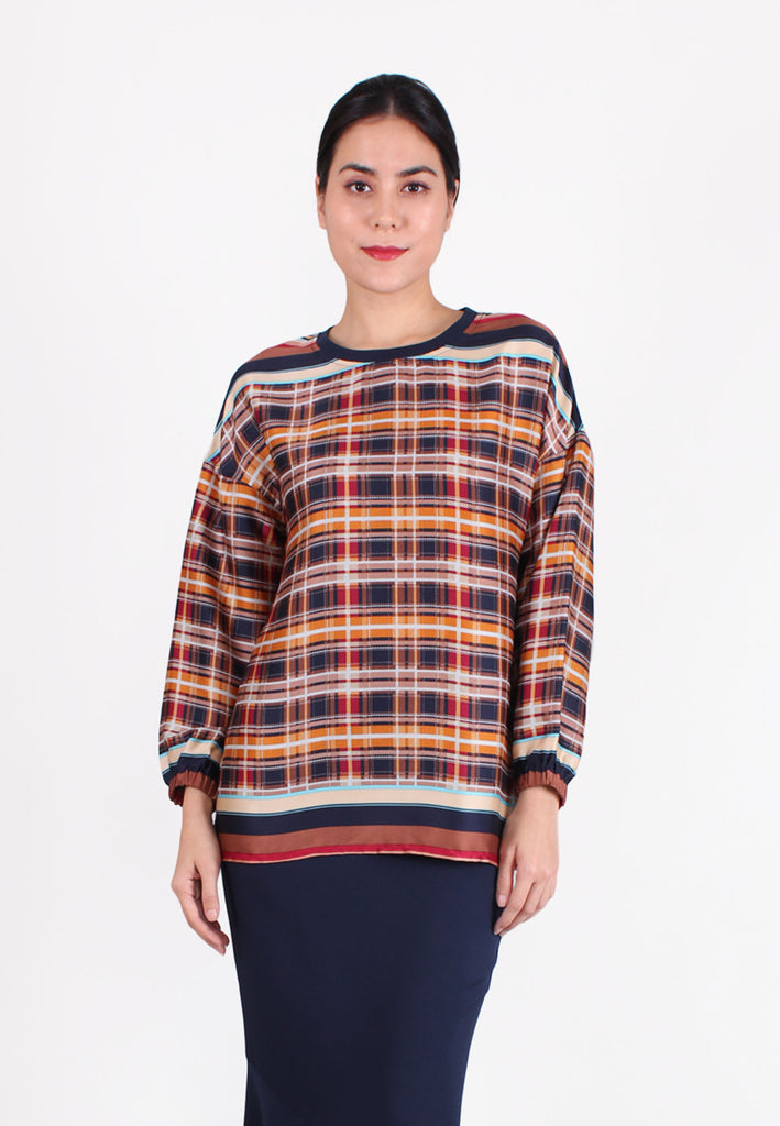 SOUTH CHINA SEA Checked & Striped Design Blouse