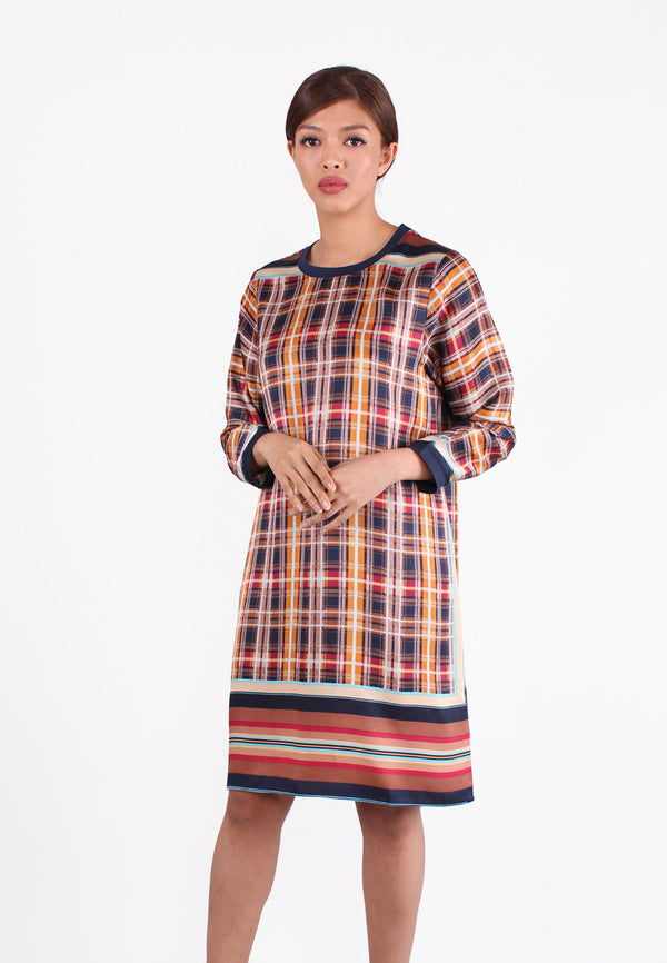 SOUTH CHINA SEA Checked & Striped Design Dress