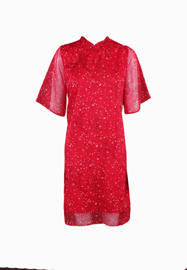 SOUTH CHINA SEA Spring Floral in Print Cheongsam