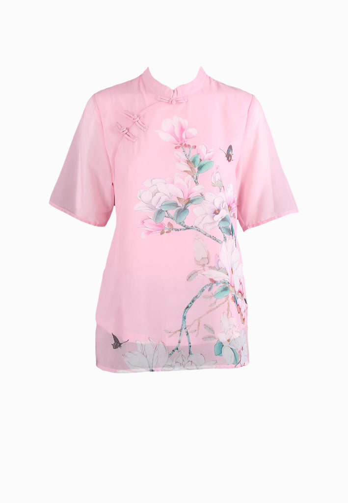 SOUTH CHINA SEA Pink Blossom All Over Print Blouse