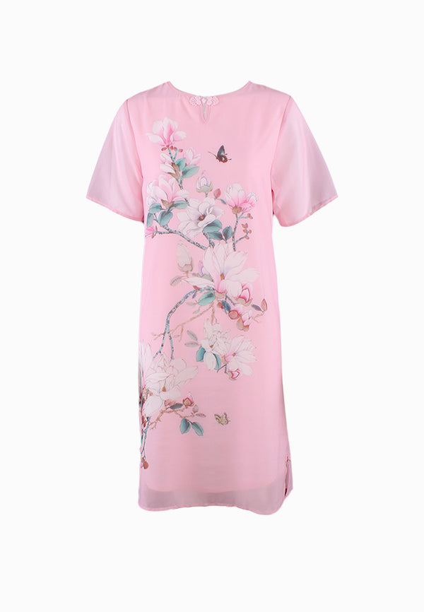 SOUTH CHINA SEA Pink Blossom Cheongsam Dress (dont live wait for update)