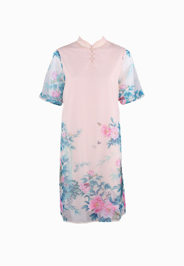 SOUTH CHINA SEA Peach Blossom Cheongsam Dress