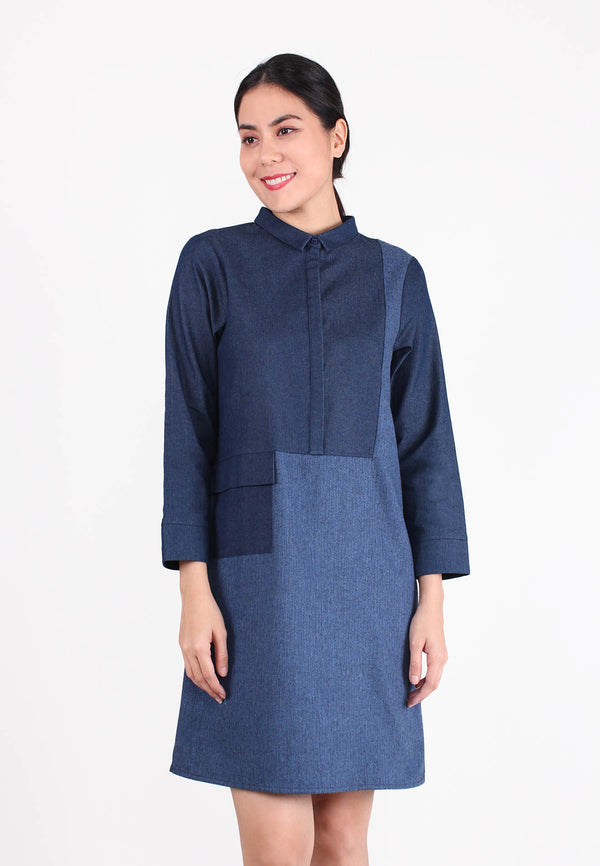SOUTH CHINA SEA Contrast Two Color Tone Denim Dress