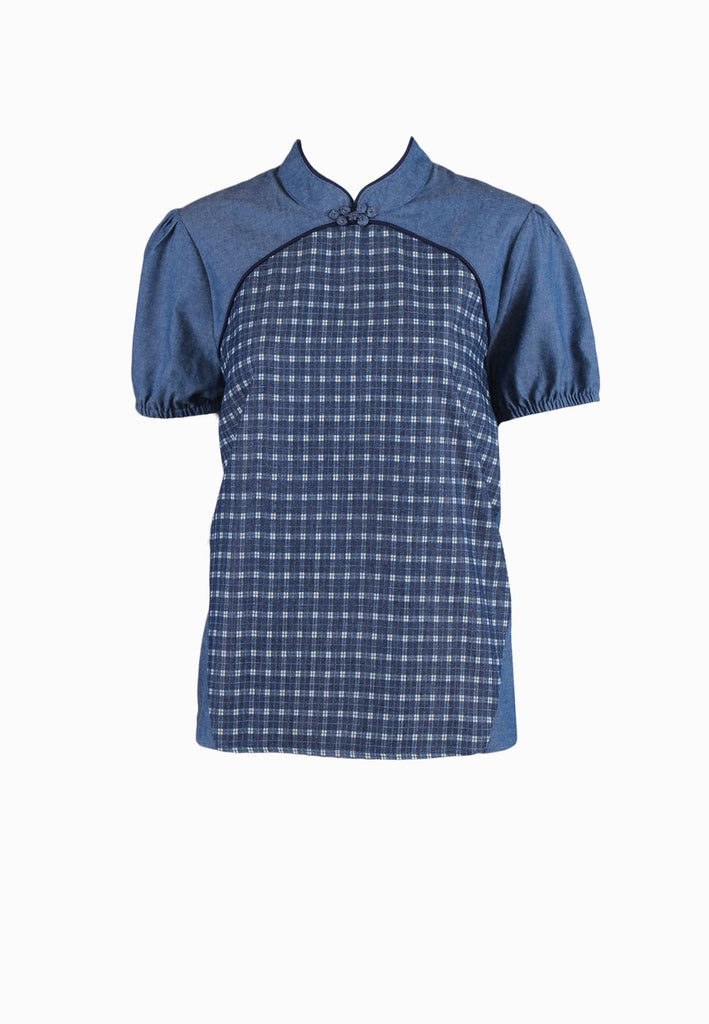 SOUTH CHINA SEA Denim Plaid QiPao Top