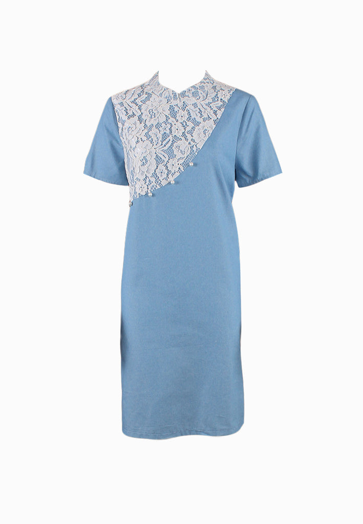 SOUTH CHINA SEA Denim Asymmetrical Lace Cheongsam Dress