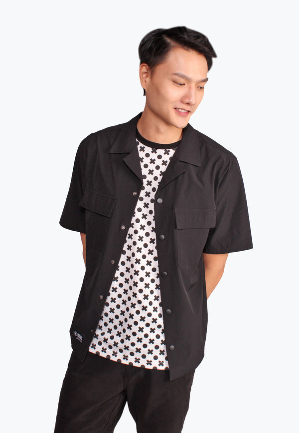 SODA Men Notched Collar Button Up Shirt