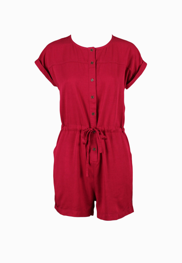 SODA Ladies Casual Buttons-Down Drawstring Jumpsuit