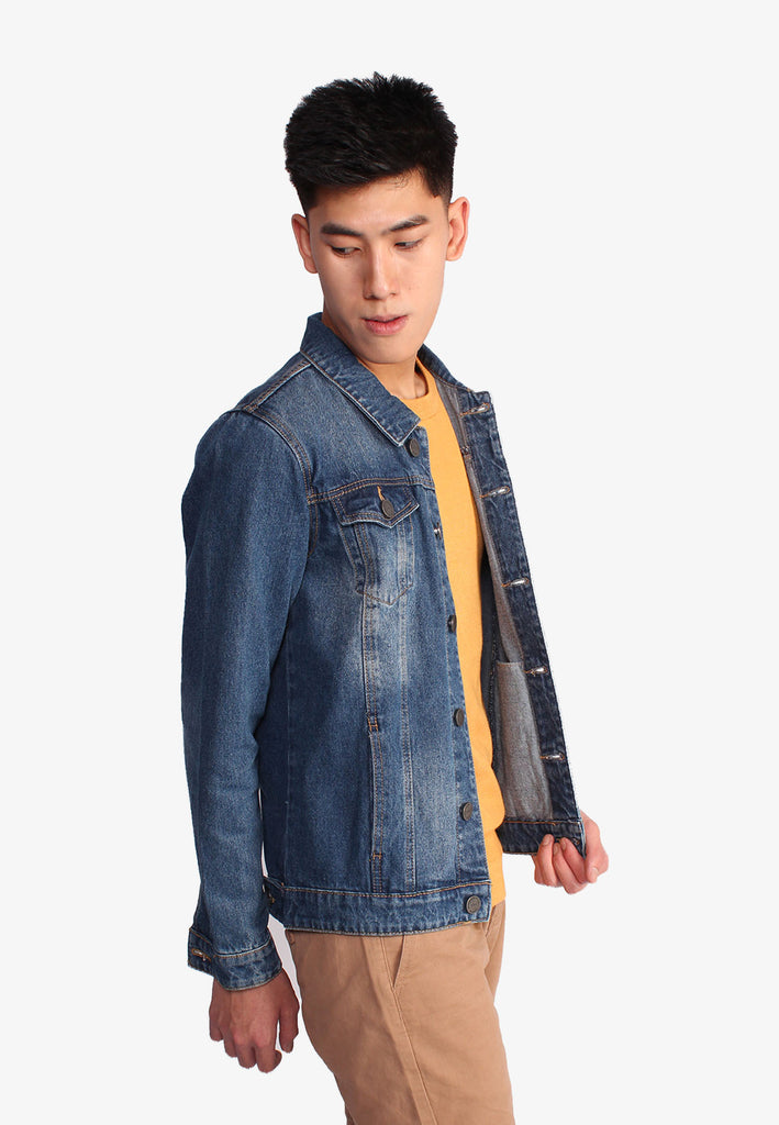 Men Denim Pockets Jacket