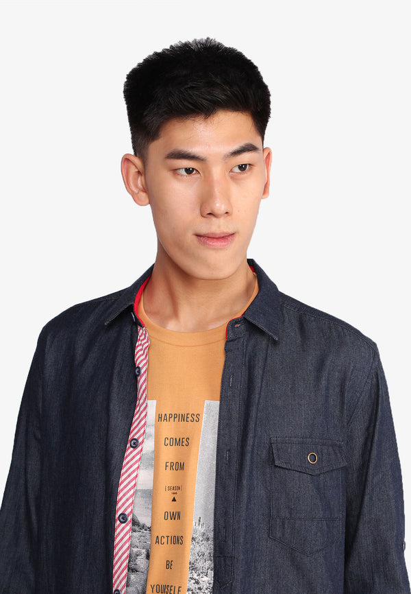 SODA Men Basic Button Denim Cotton Long Sleeves Shirt