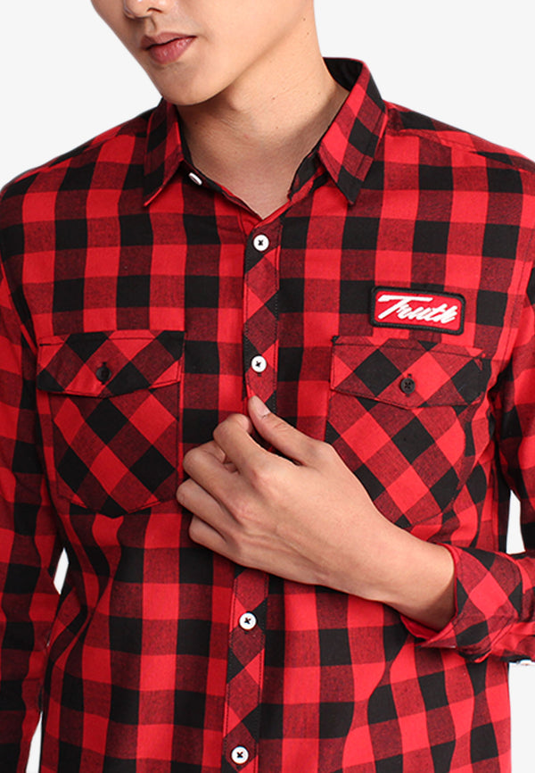 Embroidered Pocket Checkered Shirt