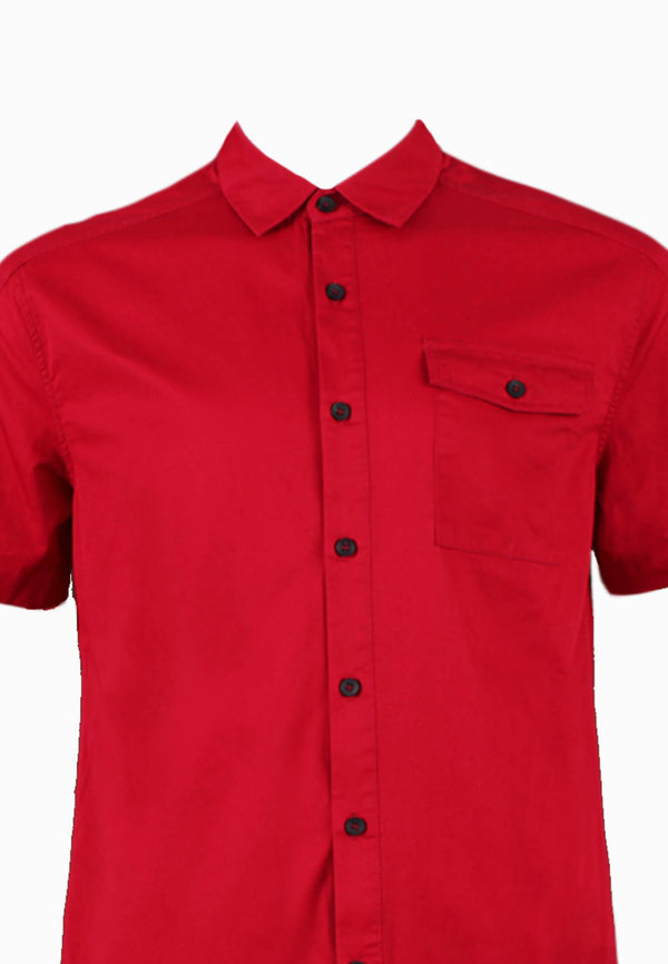 SODA Men Basic Plain Casual Short Sleeves Shirt