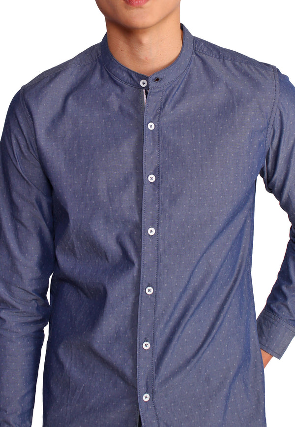 SODA MEN Mandarin Collar With Basic Placket Shirt