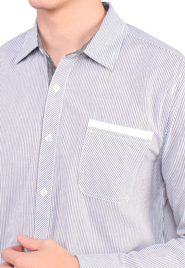 SODA MEN Wide Spread Collar With Striped Shirt