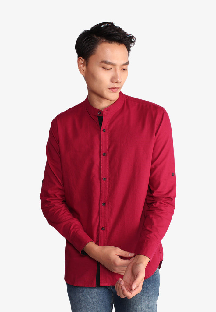 Workwear Stand Collar Placket Shirt