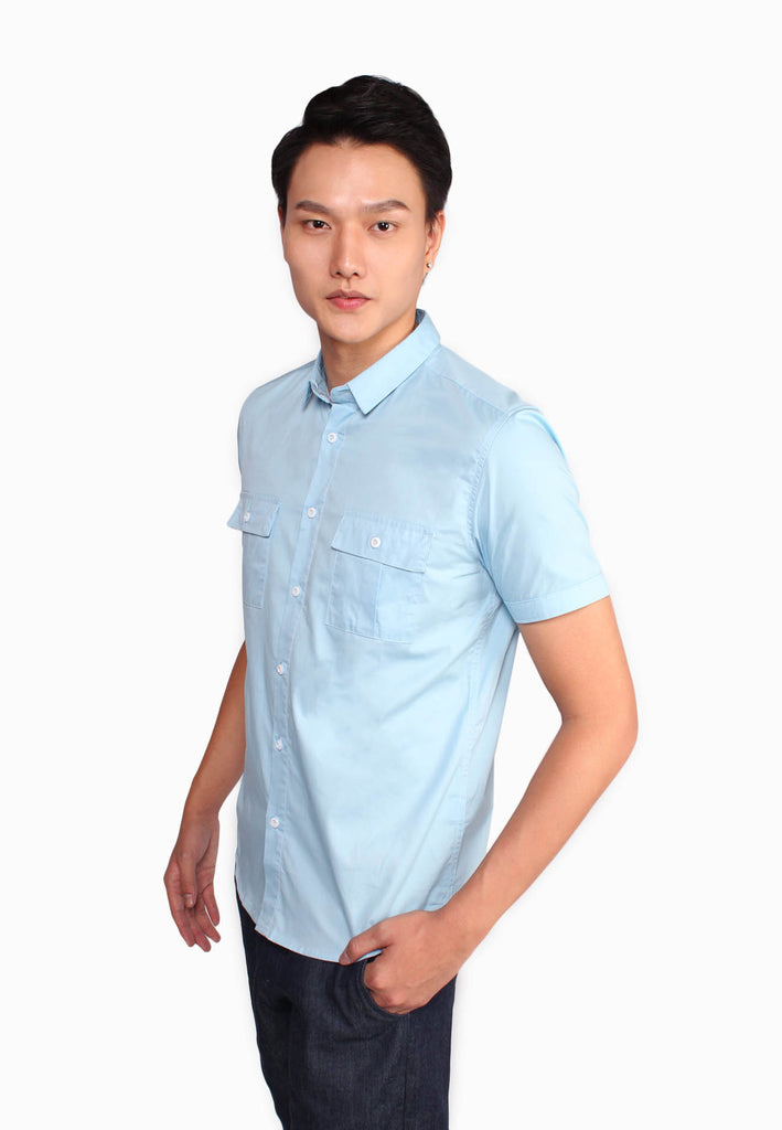 Double Front Pockets Short Sleeve Shirt