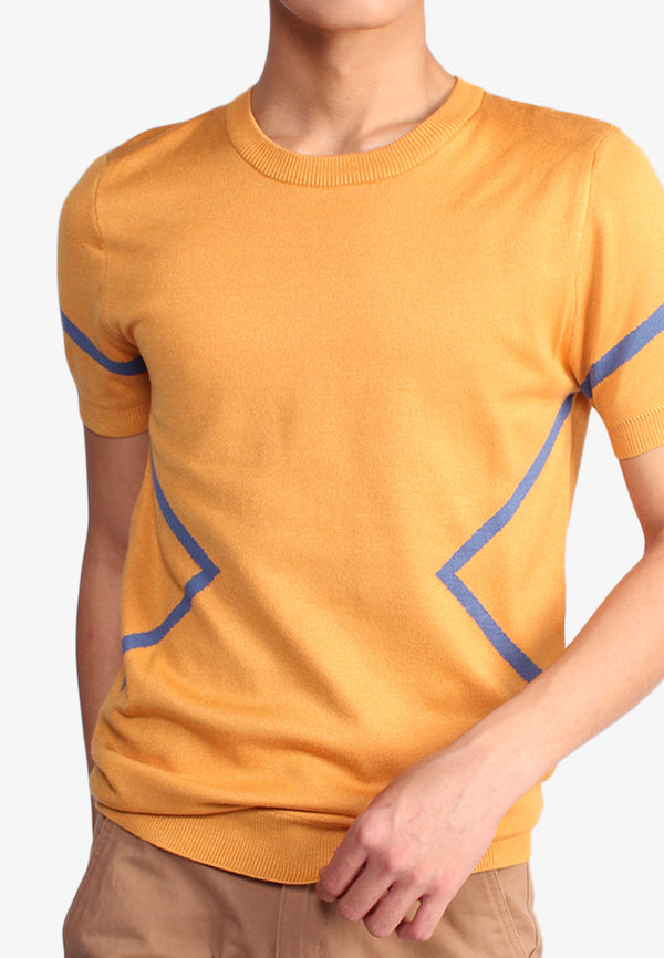 Blue Edge Line Short Sleeve Top