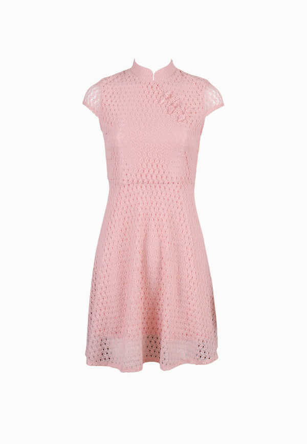 SODA Ladies Mandarin Collar Short Peasant Sleeves Dress