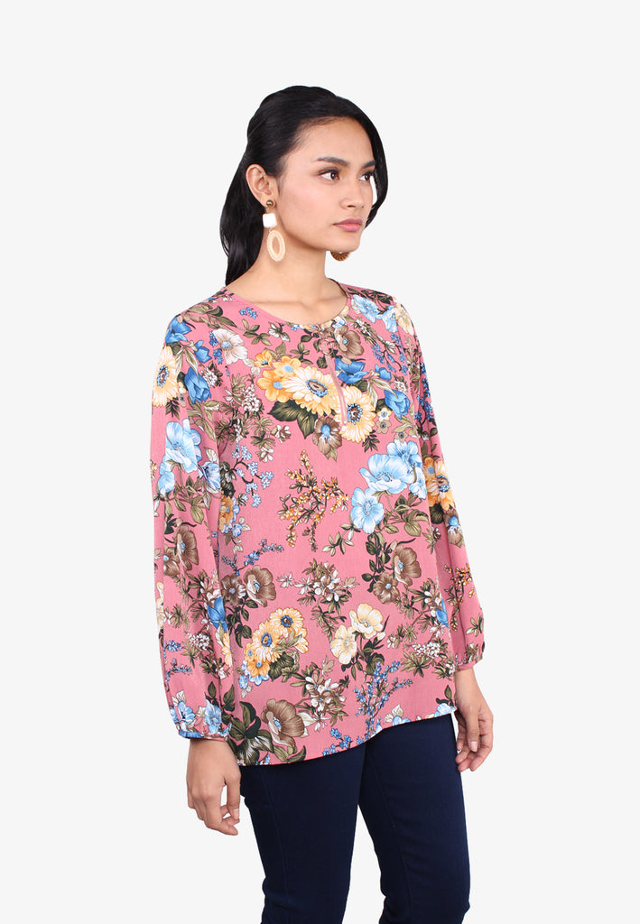 Zipped Floral Printed Blouse